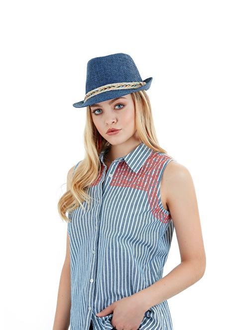 Laslusa İçten Ayarlanabilir Hasır Fötr Kuşaklı Şapka Lacivert